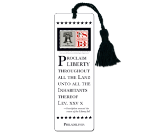 Custom Laminated Liberty Bell Bookmark Example