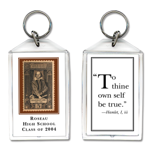 Shakespeare keychain with quotation
