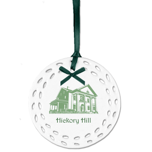 Custom Christmas ornaments with outline image of Hickory Hill