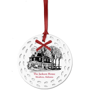 Ceramic Christmas Ornament with black outline of home