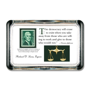 Custom paperweight with quotation - Jefferson