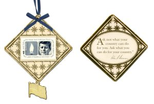 JFK custom christmas ornament - front and back