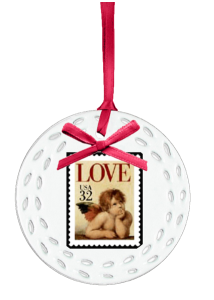 Love stamp personalized Christmas Ornament Angel