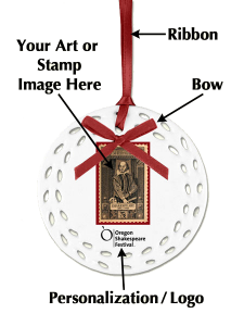 Diagram Shakespeare stamp personalized Christmas Ornament - Ceramic