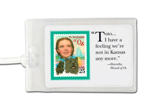 Personalized Luggage Tag with Wizard of Oz stamp