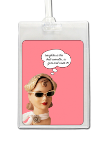 Luggage Tag with girl against pink background