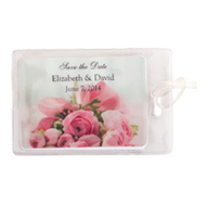 Save the Date with pink roses in background plastic luggage tag