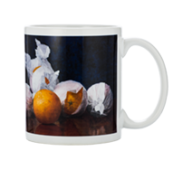 Painting or oranges and dark background wrapped around custom made in USA mug