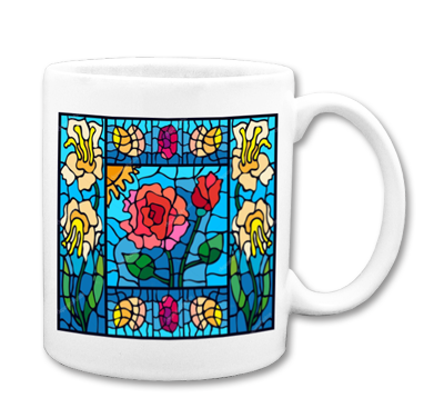 Tiffany Glass design on white mug