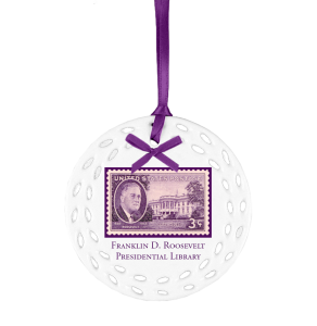 Custom Ceramic Ornament with Franklin Roosevelt purple stamp on custom ceramic ornament