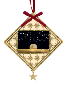 Moon and stars on black sky on custom laminated Christmas ornament