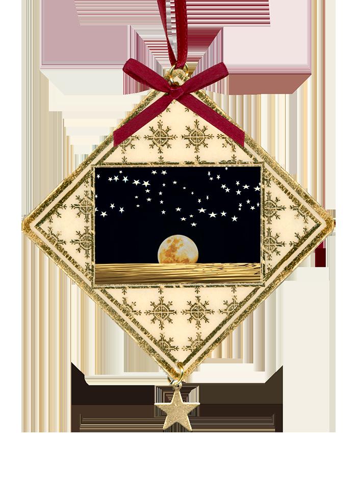 Moon and stars on black sky on custom laminated Christmas ornament