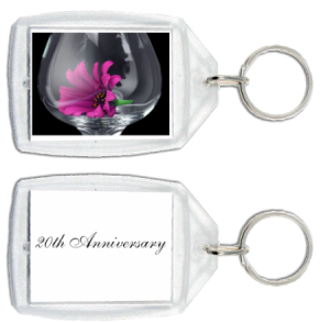 Purple Flower with message on back custom acrylic keychain
