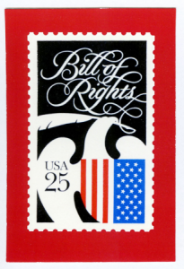 custom postcards with Bill of Rights stamp