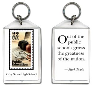 Personalized acrylic keychain- large - Public Education stamp with quote on back