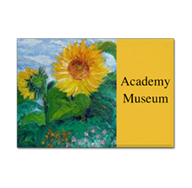 Custom Refrigerator Magnet with Sunflower painting and personalization with museum name