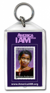 Marian Anderson stamp on custom acrylic keychain - large