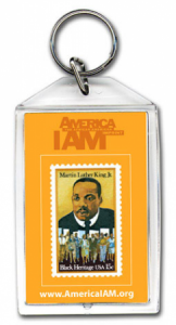 M.L. King stamp on personalized keychain - large