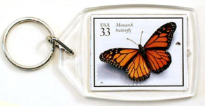 Monarch stamp on personalized acrylic keychain