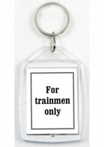 Printed message on back of custom acrylic keychain