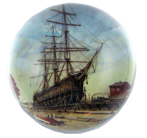 Custom Ship Crystal Paperweight Example