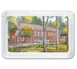 Custom Glass Paperweight with watercolor painting of brick senior center with trees in background