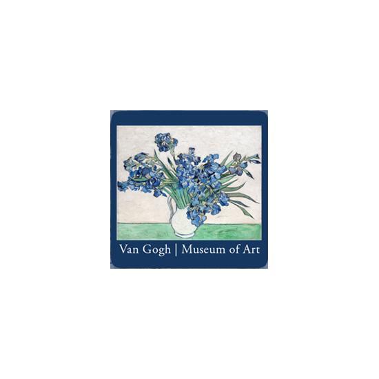 Van Gogh's irises reproduced on drink coaster