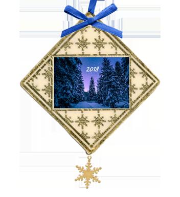 Custom Christmas ornament with night sky and pine trees