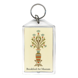 Personalized keychain - acrylic with stylized vase in orange and green stripes for art museum
