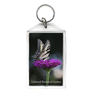Yellow swallowtail butterfly on purple flower inside acrylic keychain with chrome ring
