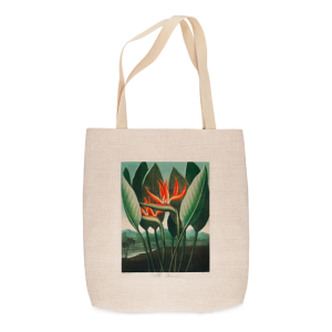 Tropical Flowers in red with large green leaves printed on linen-look tote bag
