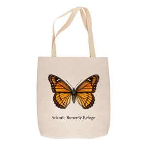 Orange monarch butterfly on linen-look tote bag
