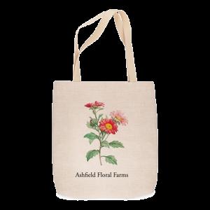 Custom Printed Tote Bag -Flower on linen-weave tote