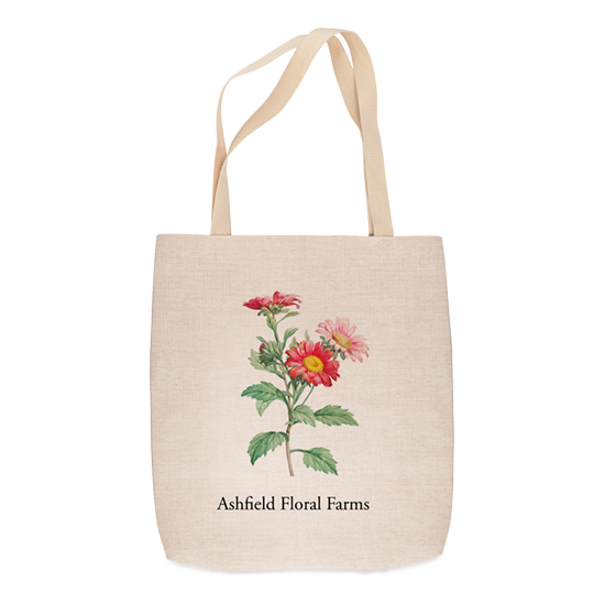 Flower on linen-weave tote