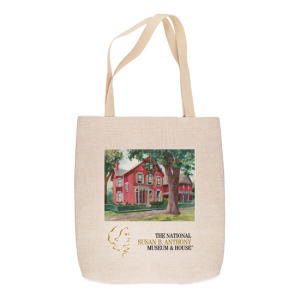 Red Historic House with tree in front yard and name of museum printed on linen-look tote bag