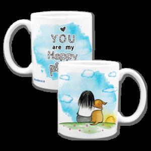 Custom coffee mug with dog illustration
