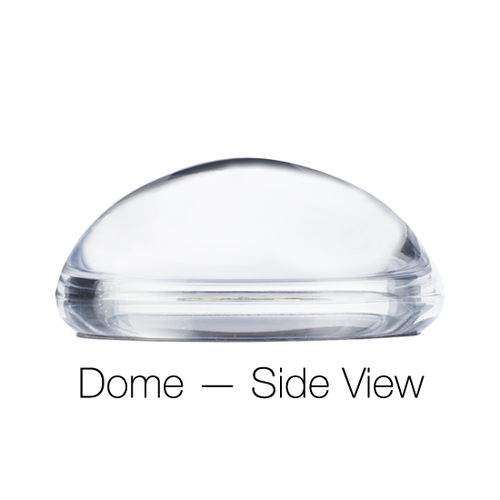 Custom Glass Paperweight Dome - side view