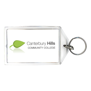 Acrylic keychain with chrome ring with green leaf and name of community college