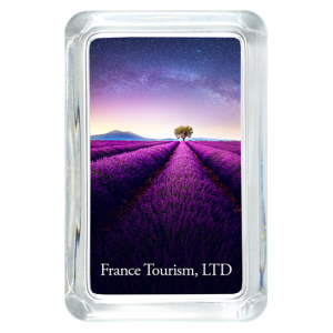 Custom Glass Paperweight - Rectangle with Lavender field