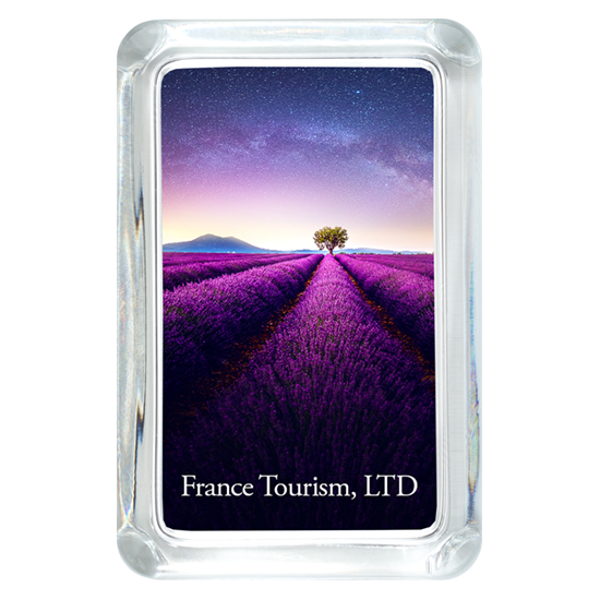 Custom Glass Paperweight - Rectangle - Lavender field