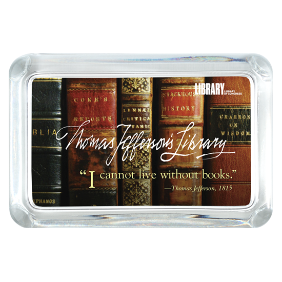 Custom Glass Paperweight - Rectangle - Library