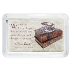 Custom Glass Paperweight - Rectangle - Teacup