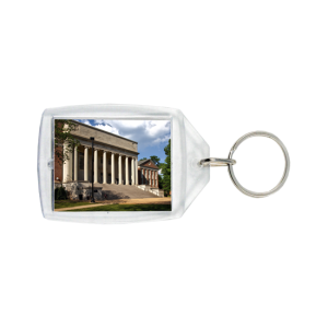 Customized Keychain University building with columns and steps on photo keychain