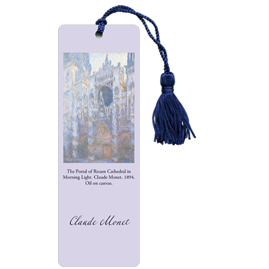 Lavender laminated bookmark with Monet painting of Rouen Cathedral