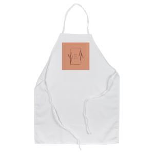 Leaf surrounding square on brick-colored background printed on personalized white apron