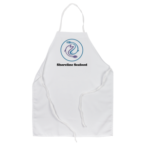 Restaurant Logo advertising seafood on custom white apron
