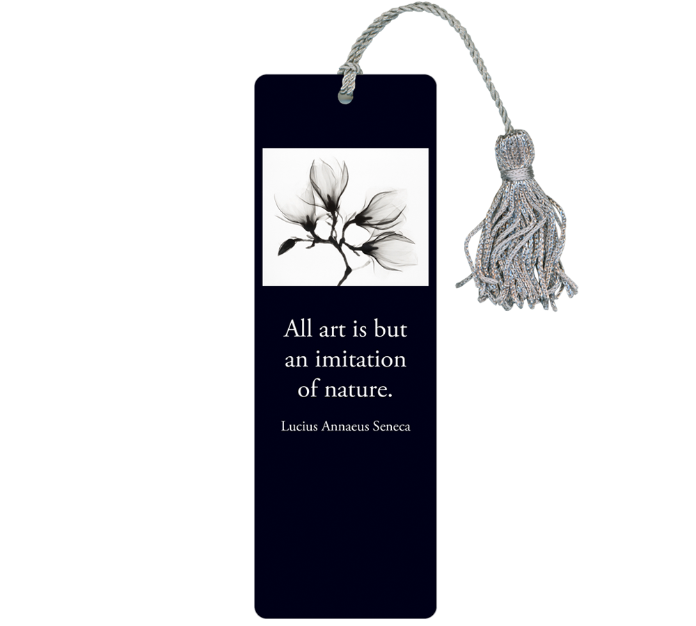 Custom Bookmarks - Black and white flower with quotation