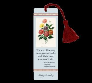 Custom Laminated Birthday Bookmarks with botanical painting and Longfellow quotation on aqua background