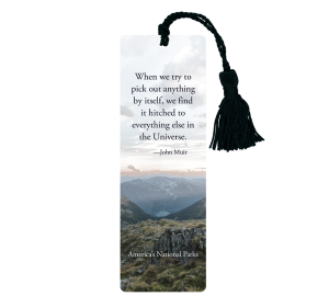 America's National Parks bookmark with John Muir quotation against mountains and valley