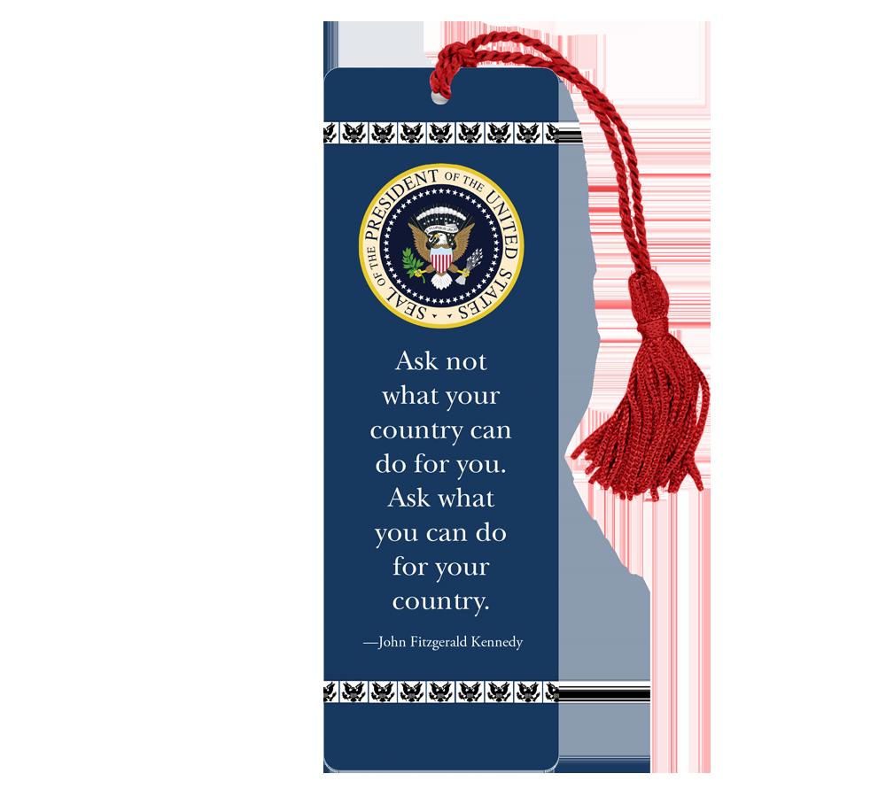 Custom Laminated Bookmarks - Presidential Seal - JFK quote